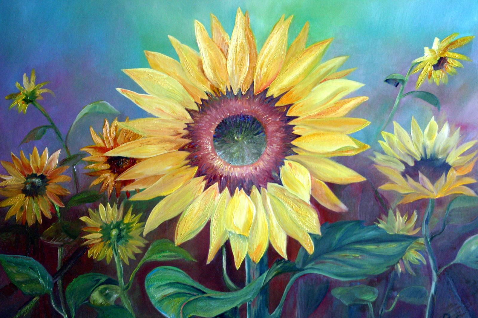 Kunst Gemälde die sonnenblumen 80 x 60 cm öl auf leinwand natur waldemar